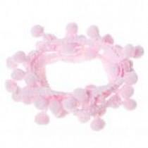 Лента с помпонами, цвет бледно-розовый, 1 метр, ширина 18 мм