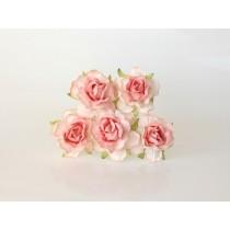 Кудрявые розы 4 см - Коралловые 2хтоновые, 1 шт.