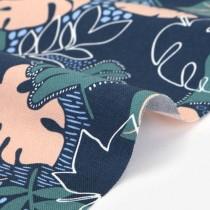 "Ткань Dailylike ""Midnight tropical leaf"" оксфорд размер 55х45, пл.220 г/м"