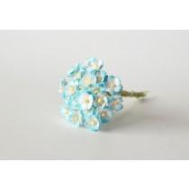 Цветы вишни мини 1 см - Бирюзовый+белый 560 1 шт