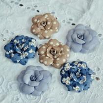 Цветы из ткани 6 шт, размером 5-5.5 см
