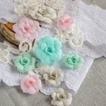 Цветы из ткани 9 шт, размер 3 и 5 см. (белый, розовый, мятный)