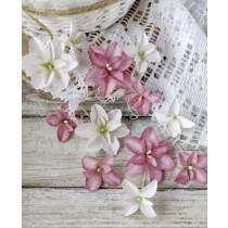 Цветы из ткани 12 шт, размером от 2 см до 4 см