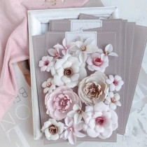 "Цветы из ткани  ""DIAMOND"" бежево-розовый, 16 шт"