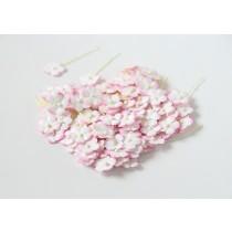 Цветочки маленькие 1 см - розовый+белый 518 1 шт