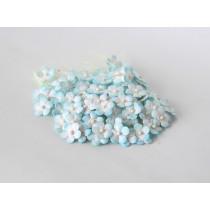 Цветочки маленькие 1 см - бирюзовый+белый 560 1 шт