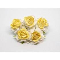 Кудрявые розы 4 см - Белый+св.желтая середина, 1 шт