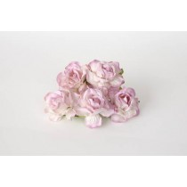 Кудрявые розы 4 см - Белый+св.сиреневые кончики, 1 шт