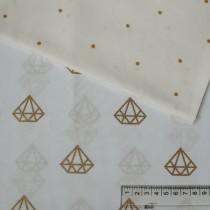 """Ткань """"Бриллианты золотые на белом"""" размер 40х50 см."""