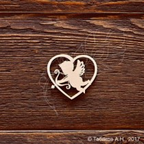 Сердце с ангелочком (4х3,6см), CB707