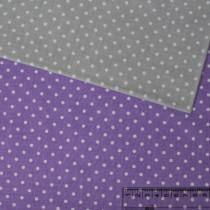 """Ткань """"Горошек 4мм Белый на фиолетовом"""" размер 40х50 см."""