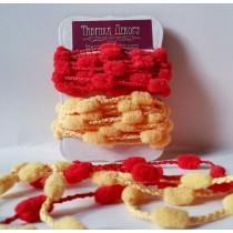 Набор тесьмы с помпонами TPYR (красный, желтый)