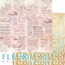 """Лист бумаги для скрапбукинга """"Веселые ноты"""", коллекция """"Волшебный лес"""", 30,5х30,5 см, плотность 190 гр"""