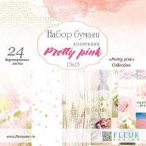 """1/2 Набора бумаги """"Pretty pink"""" 15х15, 12 листов"""