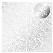 Ацетатный лист с фольгированием Silver Poinsettia 30,5х30,5 см