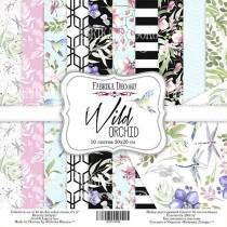 """Набор двусторонней скрапбумаги """"Wild orchid"""" 20 Х 20 см, 10 листов, бонус - один лист для вырезания,  Плотность 200 г/м кв."""
