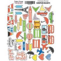 """Набор наклеек (стикеров) #002 """"European holidays"""", размер листа 21см x 16 см, в наборе 56 шт."""