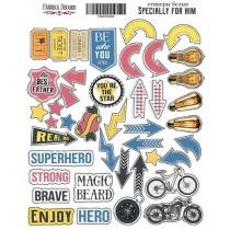 """Набор наклеек (стикеров) #003 """"Specially for him"""" , размер листа 21см x 16 см, в наборе 42 шт"""