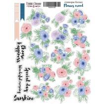 """Набор наклеек (стикеров) #008, """"Flower mood"""", размер листа 21см x 16 см, в наборе 22 шт."""
