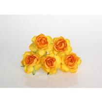 Кудрявые розы 4 см - Желто-оранжевые, 1 шт