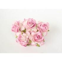Кудрявые розы 4 см - Белый+розовые кончики , 1 шт