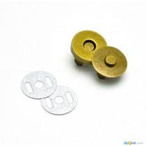 Кнопка магнитная диаметр 14 мм, цвет - античная бронза, 1 комплект