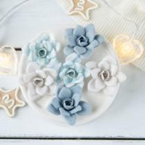 """Цветы из ткани """"Новогодние розы"""" голубой, 6 шт. размер около 5 см"""