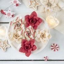 """Цветы из ткани """"Новогодние розы"""" красный, 6 шт. размер около 5 см"""