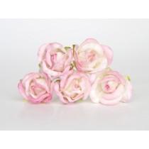 Бутоны роз большие - Белый+розовые кончики 518, 1 шт
