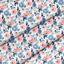 """Премиум хлопок """"Розово-голубые цветы"""" размер 50х40 см., пл.150 гр/м2, Польша"""