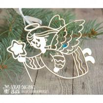 Чипборд рождественский ангел с звездочкой