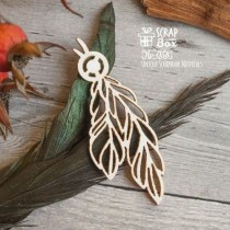 Чипборд перья с бусинкой Размеры: 60 x 22 мм  Ho-058