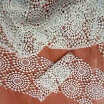 """Кружевное полотно """"Круги"""", отрез 13,5х60 см, цвет белый"""