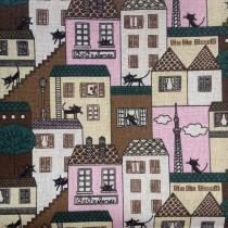 """Ткань лен """"Коты на розовом"""", размер 50х48 см"""