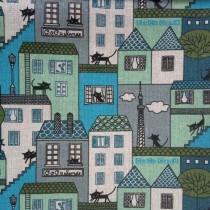 """Ткань лен """"Коты на голубом"""", размер 50х48 см"""