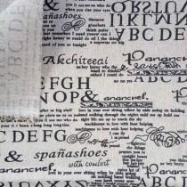 """Ткань лен """"Текст"""", размер 50х48 см"""