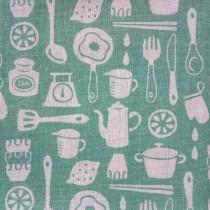 "Ткань лен ""Посуда"", размер 50х48 см"