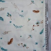 """Ткань """"Бирюзовые перышки на белом"""", размер 40х50 см, 100% хлопок"""