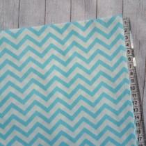 """Ткань """"Бело-голубой зигзаг """", размер 40х50 см, 100% хлопок"""
