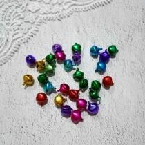 Колокольчики цветные, набор 5 шт, размер 1 шт 0,7 см, цвета МИКС