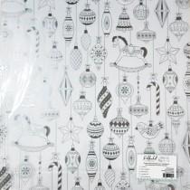 """Прозрачный ацетатный лист с серебряным фольгированием """"Ёлочные игрушки"""", размер  305х305 мм."""