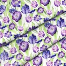 """Премиум хлопок """"Фиолетовые тюльпаны"""" размер 50х40 см., пл.150 гр/м2, Польша"""