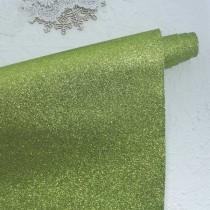 Отрез кожзама с глиттером 50х34 см., светло-зеленый