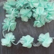 Цветы шифоновые - мятные, 1 шт., диаметр 5 см.