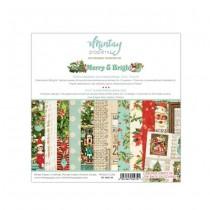 """1/2 Набор бумаги """"Merry & Bright"""" 15х15 см., 12 двусторонних листа, пл. 240 г/м"""