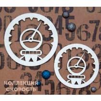 """Чипборд """"Набор Спидометры 1"""", размер  6 см и 5 см, 2 шт."""