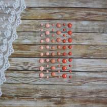Эмалевые точки (дотсы) глянцевые, оранжевые, на подложке 54 штуки, размер 4-8 мм.