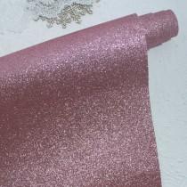 Отрез кожзама с глиттером 50х34 см., темно-розовый