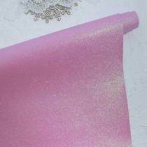 Отрез кожзама с глиттером 50х34 см., розовый (со светло-зеленым глиттером)