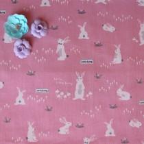 """Ткань """"Зайки на розовом"""", размер 40х50 см, 100% хлопок"""